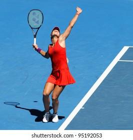 MELBOURNE - JANUARY 17: Maria Kirilenko of Russia in her first round win over Jamila Gajdosova of Australia at the 2012 Australian Open on January 17, 2012 in Melbourne, Australia.