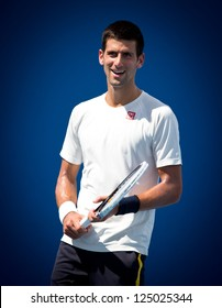 MELBOURNE - JANUARY 17: Novak Djokovic of Serbia in a practice session at the 2013 Australian Open on January 17, 2013 in Melbourne, Australia.