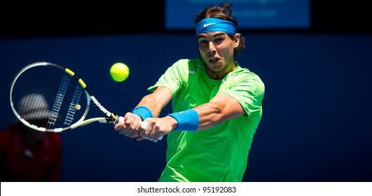 MELBOURNE - JANUARY 18: Rafael Nadal of Spain in his second round win over Tommy Haas of Germany at the 2012 Australian Open on January 18, 2012 in Melbourne, Australia.
