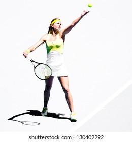 MELBOURNE - JANUARY 19: Maria Kirilenko of Russia in her third round win over Yanina Wickmayer of Belgium at the 2013 Australian Open on January 19, 2013 in Melbourne, Australia.