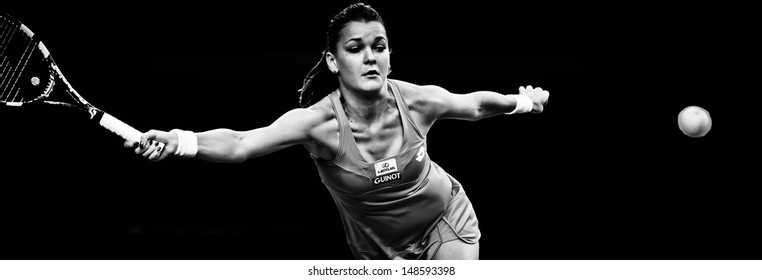 MELBOURNE - JANUARY 20: Agnieszka Radwanska  of Poland in her fourth round win over Ana Ivanovic of Serbia at the 2013 Australian Open on January 20, 2013 in Melbourne, Australia.