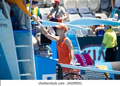 MELBOURNE - JANUARY 20: Russian tennis player Elena Dementieva, at the Australian Open on January 20, 2009 in Melbourne Australia.