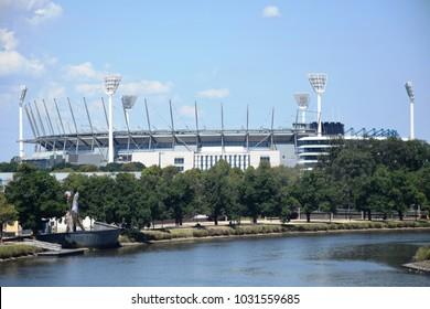 Melbourne, January 2018 - The famous and amazing MCG (Melbourne Cricket Ground) over Yarra River, the popular river of Melbourne, Australia.