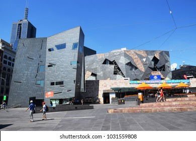 Melbourne, January 2018 - Modern buildings and Ian Potter Centre in Federation Square, in downtown Melbourne, Victoria, Australia