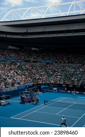 MELBOURNE- JANUARY 21: A full crowd at Rod Laver Arena watches Novak Djokovic in th second round of the 2009 Australian Open at Melbourne Park on January 21, 2009.