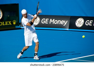MELBOURNE- JANUARY 21:  Peter Luczak during the 2009 Australian Open at Melbourne Park on January 21, 2009.