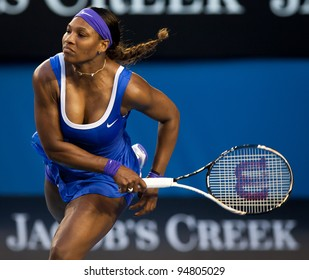 MELBOURNE - JANUARY 21: Serena Williams in her third round win over Greta Arn at the 2012 Australian Open on January 21, 2012 in Melbourne, Australia.
