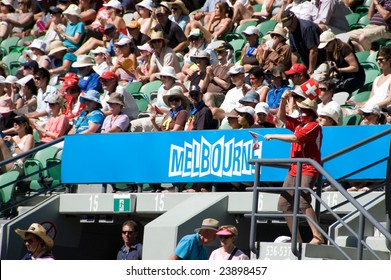 MELBOURNE- JANUARY 21: A Swiss fan cheers on Roger Federer during his second round match of the 2009 Australian Open at Melbourne Park on January 21, 2009.
