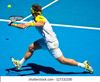 MELBOURNE - JANUARY 22: David ferrer of Spain in his marathon quarter final win over Nicolas Almagro at the 2013 Australian Open on January 22, 2013 in Melbourne, Australia.