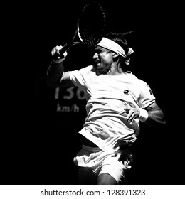 MELBOURNE - JANUARY 22: David ferrer of Spain in his marathon quarter final win over Nicolas Almagro at the 2013 Australian Open on January 22, 2013 in Melbourne, Australia.