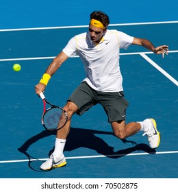 MELBOURNE - JANUARY 23: Roger Federer of Switzerland in his fourth round win over Tommy Robredo of Spain in the 2011 Australian Open on January 23, 2011 in Melbourne, Australia.