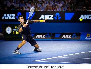 MELBOURNE - JANUARY 24: Novak Djokovic of Serbia in his semi final win over David Ferrer of Spain at the 2013 Australian Open on January 24, 2013 in Melbourne, Australia.