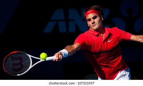MELBOURNE - JANUARY 24: Roger Federer of Switzerland in his quarter final win over Juan martin del portro at the 2012 Australian Open on January 24, 2012 in Melbourne, Australia.