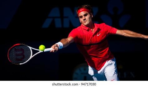 MELBOURNE - JANUARY 24: Roger Federer of Switzerland in his quarter final win over Juan martin del portro at the 2012 Australian Open on January 24, 2012 in Melbourne, Australia.