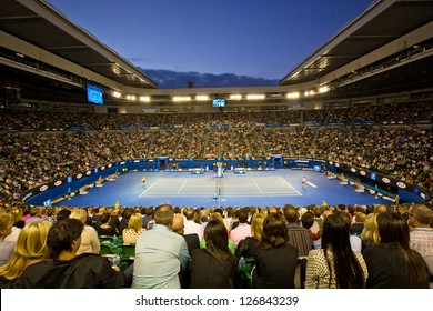 MELBOURNE - JANUARY 26: Crowd at Rod Laver Arena during the 2013 Australian Open Womens Championship Final on January 26, 2013 in Melbourne, Australia.