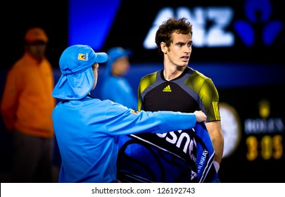 MELBOURNE - JANUARY 27: Novak Djolovic of Serbia (L) with Runner-up Andy Murray of Scotland at the trophy presentation the 2013 Australian Open on January 27, 2013 in Melbourne, Australia.