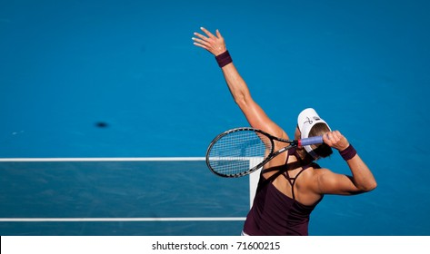 MELBOURNE - JANUARY 27: Vera Zvonareva of Russiain plays in her semi final loss to  Kim Clijsters of Belgium  in the 2011 Australian Open on January 27, 2011 in Melbourne, Australia