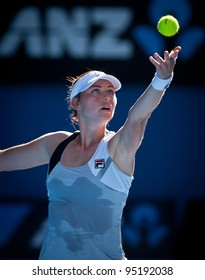 MELBOURNE - JANUARY 27:  Vera Zvonareva of Russia winning the doubles championship at the 2012 Australian Open on January 27, 2012 in Melbourne, Australia.