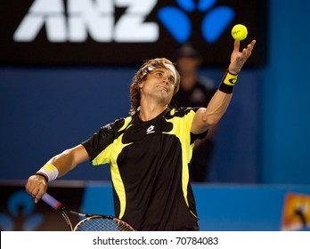 MELBOURNE - JANUARY 28: David Ferrer of Spain in his semi-final loss to Andy Murray of Great Britain in the 2011 Australian Open on January 28, 2011 in Melbourne, Australia.