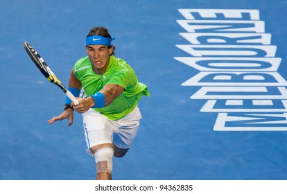 MELBOURNE - JANUARY 29: Rafael Nadal of Spain in his loss to Novak Djokovic of Serbia in the final of  the 2012 Australian Open on January 29, 2012 in Melbourne, Australia.