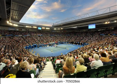 MELBOURNE - JANUARY 29: Rod Laver Arena during the 2010 Australian Open ladies final between Kim Clijsters and Li Na on January 29, 2011 in Melbourne, Australia