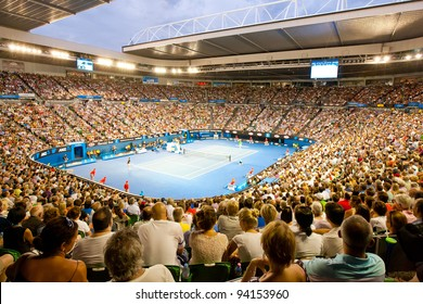 MELBOURNE - JANUARY 29: Rod Laver arena during the 2012 Australian Open final between Noval Djokavic of Serbia and Rafael Nadal of Spain on January 29, 2012 in Melbourne, Australia.