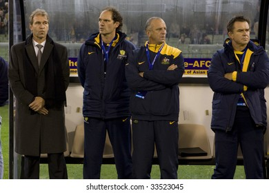 MELBOURNE - JUNE 17: Australian team coaches. Australian Socceroos-2 defeat Japan-1 in the 2010 World Cup Qualifying at the MCG (Melbourne Cricket Ground) June 17, 2009 in Melbourne, Australia.