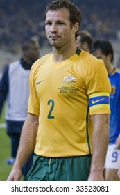 MELBOURNE - JUNE 17: Lucas Neill, Australian Socceroos-2 defeat Japan-1 in the 2010 World Cup Qualifying at the MCG (Melbourne Cricket Ground) June 17, 2009 in Melbourne, Australia.