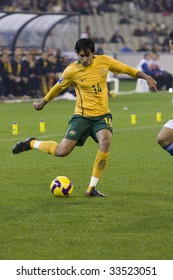 MELBOURNE - JUNE 17: Rhys Williams centering ball. Australian Socceroos-2 defeat Japan-1 in the 2010 World Cup Qualifying at the MCG (Melbourne Cricket Ground) June 17, 2009 in Melbourne, Australia.