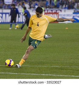 MELBOURNE - JUNE 17: Tim Cahill warming up. Australian Socceroos-2 defeat Japan-1 in the 2010 World Cup Qualifying at the MCG (Melbourne Cricket Ground) June 17, 2009 in Melbourne, Australia.
