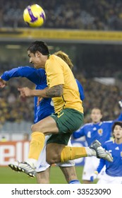 MELBOURNE - JUNE 17: Tim Cahill heads ball. Australian Socceroos-2 defeat Japan-1 in the 2010 World Cup Qualifying at the MCG (Melbourne Cricket Ground) June 17, 2009 in Melbourne, Australia.