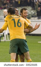 MELBOURNE - JUNE 17: Tim Cahill celebrates. Australian Socceroos-2 defeat Japan-1 in the 2010 World Cup Qualifying at the MCG (Melbourne Cricket Ground) June 17, 2009 in Melbourne, Australia.
