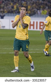 MELBOURNE - JUNE 17: Tim Chaill just missed a goal. Australian Socceroos-2 defeat Japan-1 in the 2010 World Cup Qualifying at the MCG (Melbourne Cricket Ground) June 17, 2009 in Melbourne, Australia.