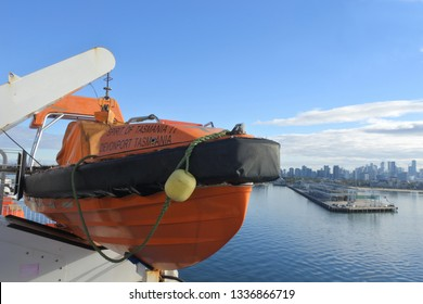MELBOURNE - MAR 11 2019:Lifeboat on MS Spirit of Tasmania II, a super fast ropax ferry owned by TT-Line Pty. Ltd. and operated on the route between Melbourne and Devonport Tasmania.