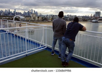 MELBOURNE - MAR 11 2019:Sea passengers on MS Spirit of Tasmania II, a super fast ropax ferry owned by TT-Line Pty. Ltd. and operated on the route between Melbourne and Devonport Tasmania.