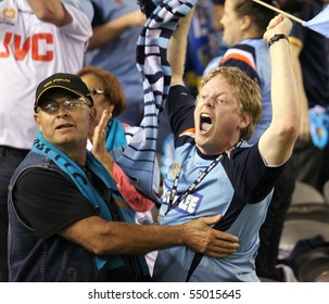 MELBOURNE - MARCH 20: Excited Sydney FC fan during their A-League grand final win over Melbourne Victory on March 20, 2010 in Melbourne.