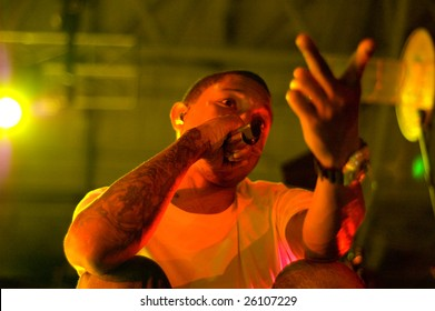 MELBOURNE- MARCH 5, 2009: Pharrell Williams and N.E.R.D perform live in concert at Hisense Arena, Melbourne on March 5, 2009.