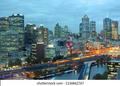 Melbourne Night Buildings