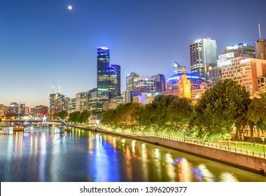 Melbourne night skyline over Yarra river, Australia.