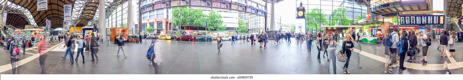 MELBOURNE - NOVEMBER 2015: Panoramic view of Southern Cross Station interior. Melbourne attracts 10 million tourists annually.
