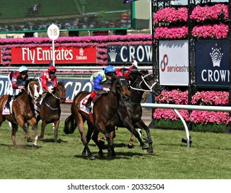 MELBOURNE NOVEMBER 6 - Arinos ridden by Craig Williams wins the Service Stream Sprint on 2008 Oaks day at Flemington in Melbourne