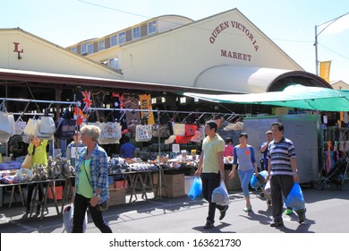 Melbourne - October 12: Unidentified people shop at famous Queen Victoria Market - October 12,2013 in Melbourne Australia. The largest open air market in the Southern Hemisphere.