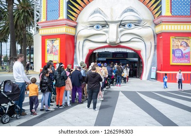 MELBOURNE - SEP 30 2018: People waiting in line to Luna Park entrance in St. Kilda