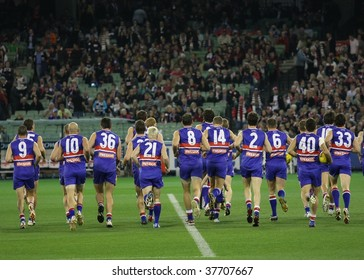 MELBOURNE - SEPTEMBER 18: Western Bulldogs players before the start of the 2009 Preliminary Final against St Kilda, September 18, 2009 in Melbourne, Australia.