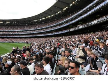 MELBOURNE - SEPTEMBER 25: Crowd at the Collingwood vs St Kilda drawn AFL Grand Final at the MCG - September 25, 2010 in Melbourne, Australia.