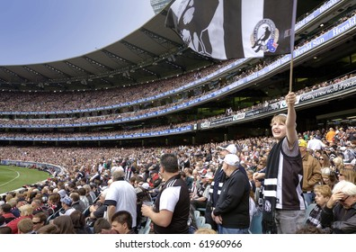 MELBOURNE - SEPTEMBER 25: Crowd at the Collingwood vs St Kilda drawn AFL Grand Final at the MCG - September 25, 2010 in Melbourne, Australia.