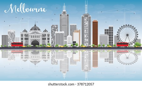 Melbourne Skyline with Gray Buildings, Blue Sky and Reflections. Business Travel and Tourism Concept with Modern Buildings. Image for Presentation Banner Placard and Web Site.