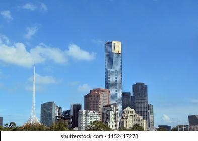 Melbourne Southbank skyline in a daylight under blue sky in Victoria, Australia. Copy space