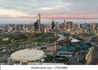 Melbourne sporting precinct with the tennis center in the foreground and the Yarra River.