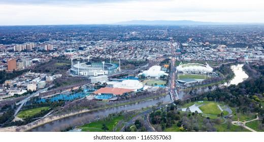 Melbourne sports precinct of Melbourne Park and the MCG at sunrise in Victoria, Australia